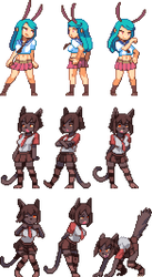 Commission: Bunny and Kuroneko by iSohei