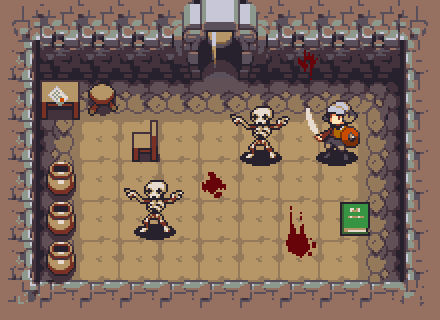 Dungeon with skeletons