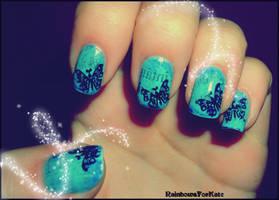 Butterflies+Newspaper nail art by RainbowsForKate
