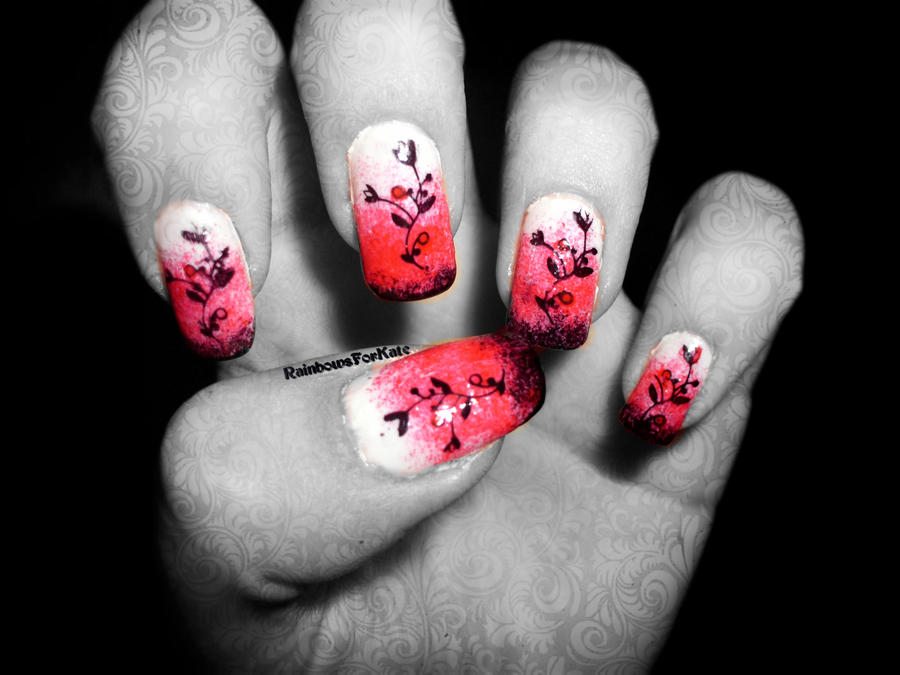 Red, white and black gradient with flowers nails by RainbowsForKate ...