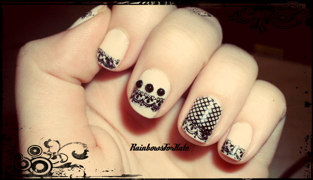 Racy Lacy Nails   Black Stamped Lace Nail Art & Barry M Do