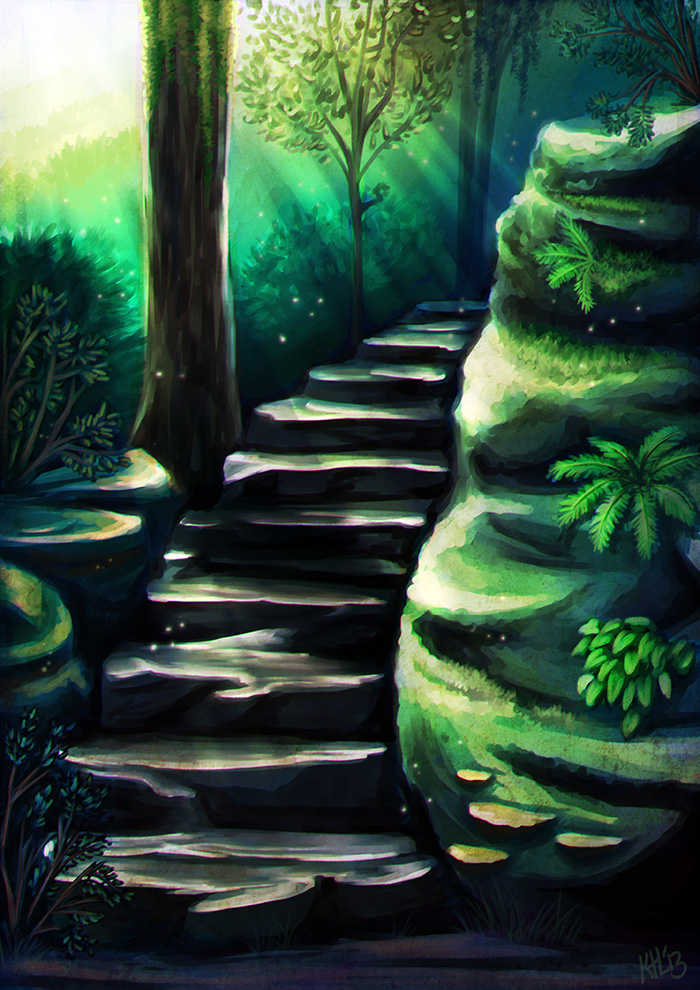 Forest Stair by Greykitty