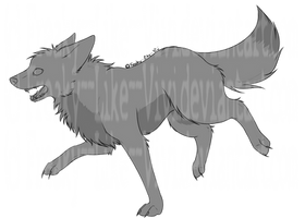 Running Canine-Lineart by Freaky--Like--Vivi