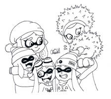 Inktober 12 - Squid and Urchin Family by Chenanigans