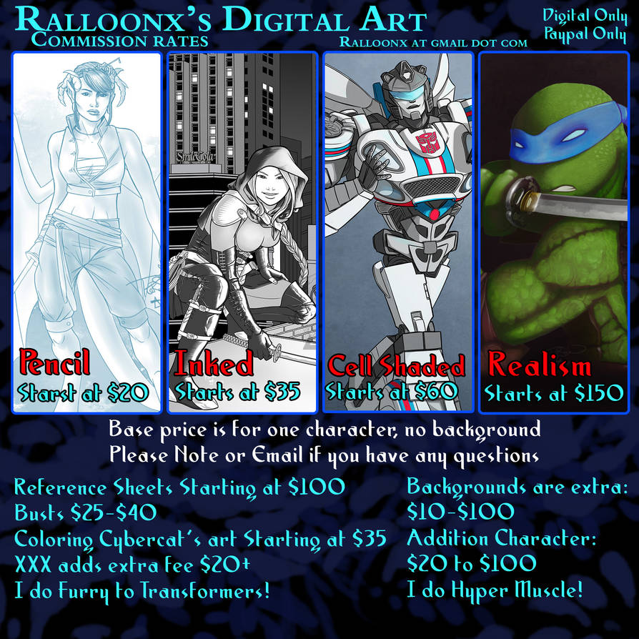 2020 Commission Price Sheet - Updated!