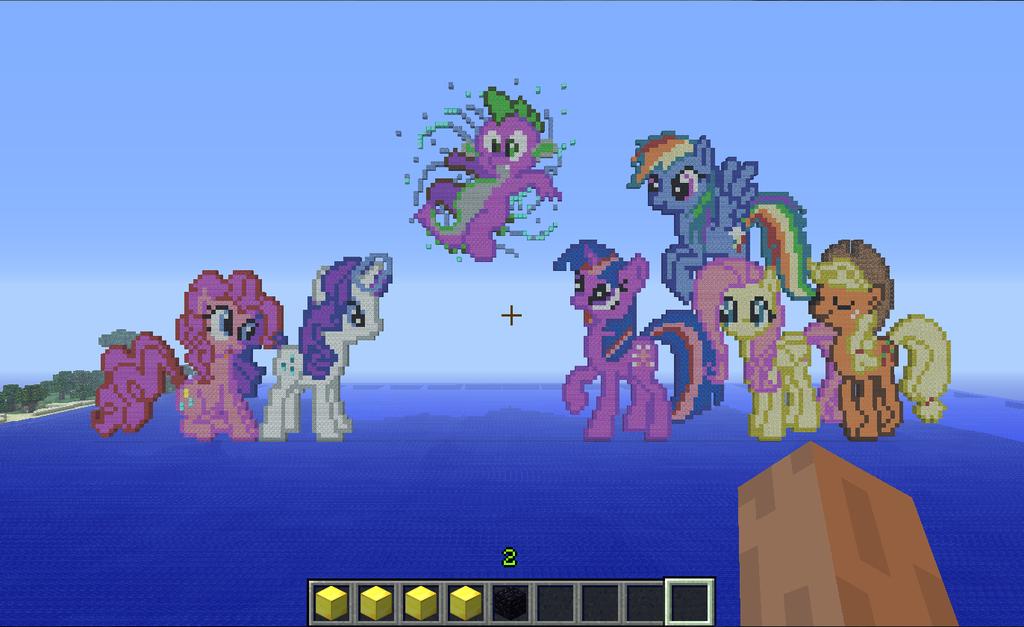 Mane6 + Spike on Minecraft by FluttershyElsa