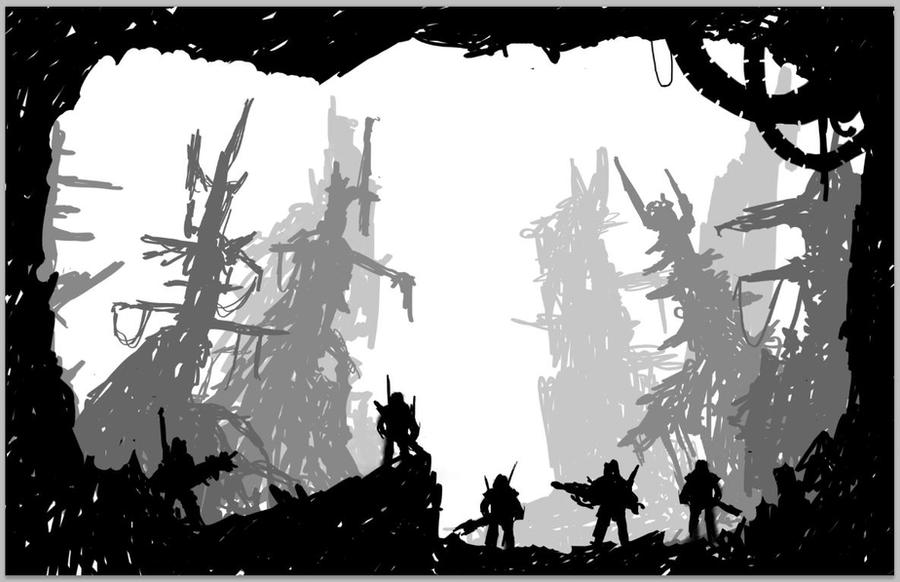 Destroyed City Silhouette