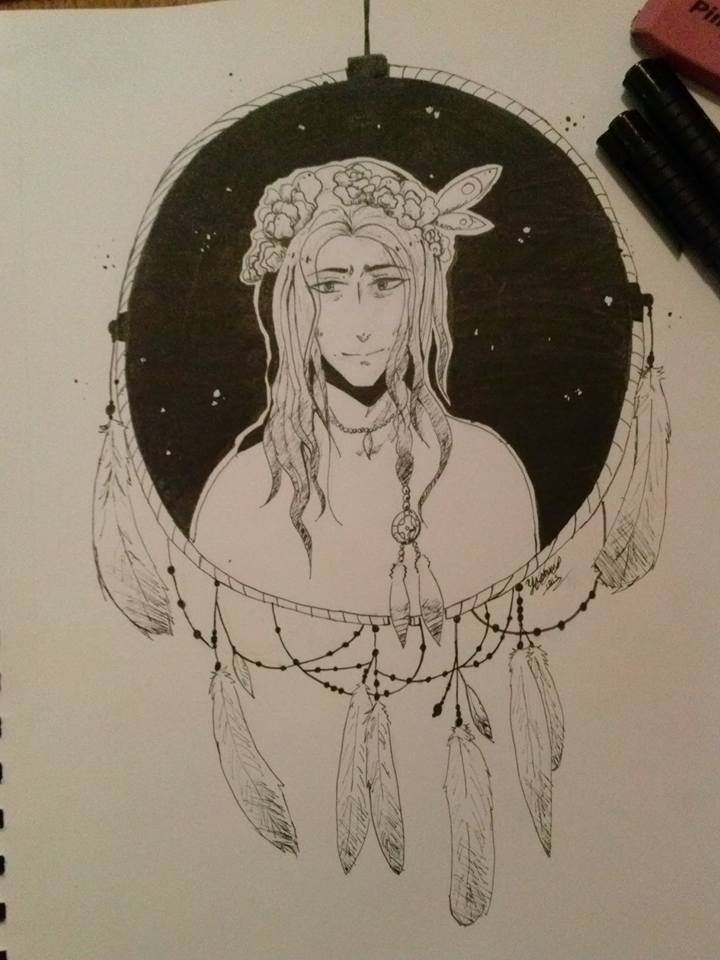 DMMD Mink- Black and white marker drawing by cutecat54546