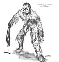 jason voorhees sketch by SickDeathFiend
