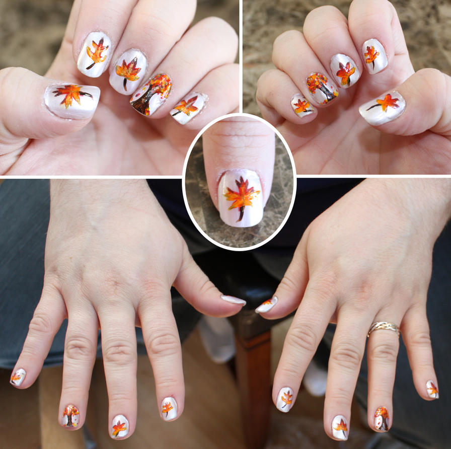 Autumn leaves nails by elvaniel