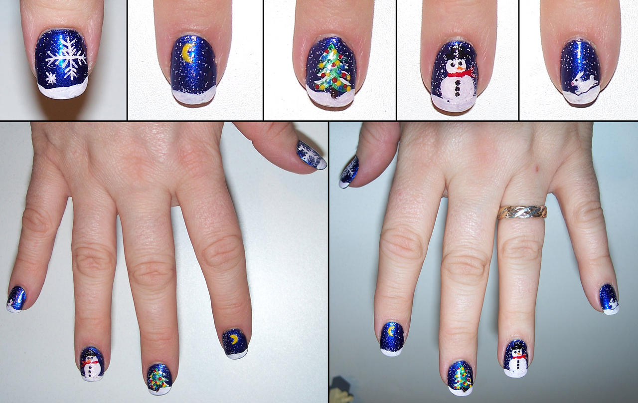 Christmas Scene nails by elvaniel