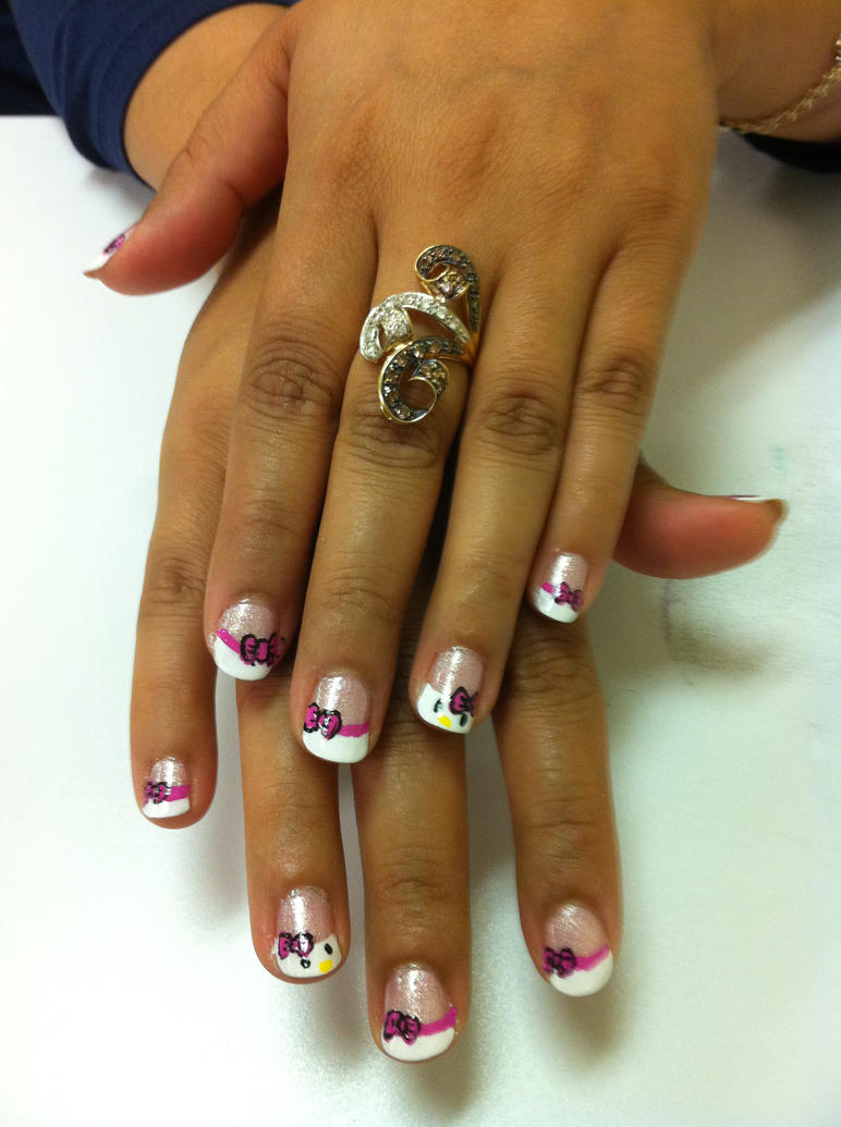 Hello Kitty French Manicure Nail Art By Elvaniel On Deviantart