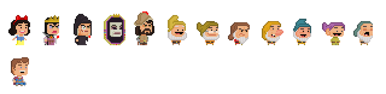 Snow White and the Seven Dwarfs by Pixelfigures
