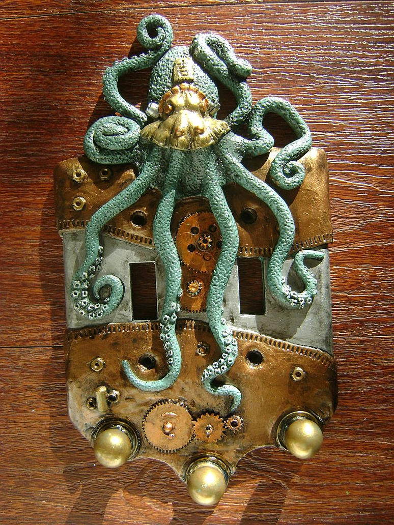 Steampunk Octopus Double Light Switch Cover By
