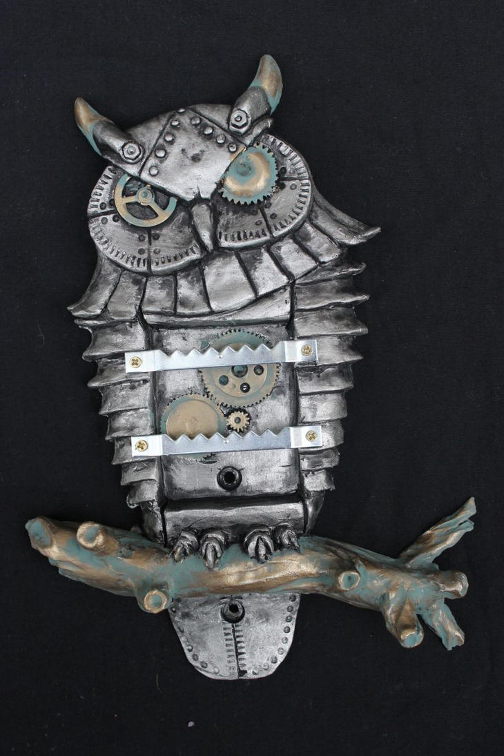 steampunk owl jewellery hanger wall art sculpture by charleswainman on deviantart. Black Bedroom Furniture Sets. Home Design Ideas