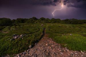 Storm over Zayatsky Island, stone labyrinths