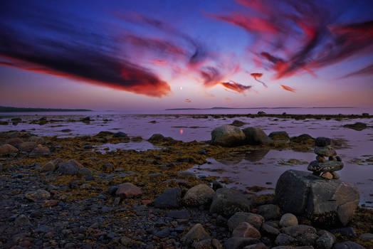 White Sea. Twilight. Low tide.