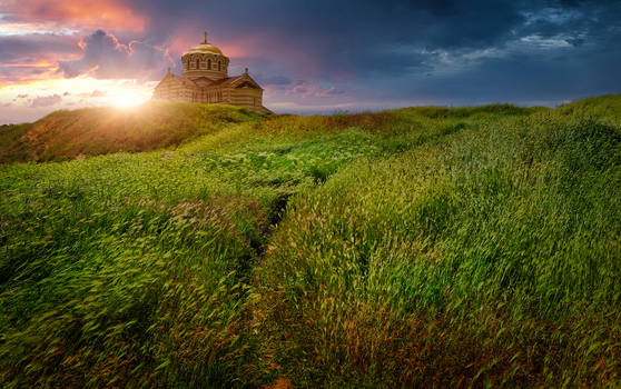 Chersonesus Cathedral. Sunset