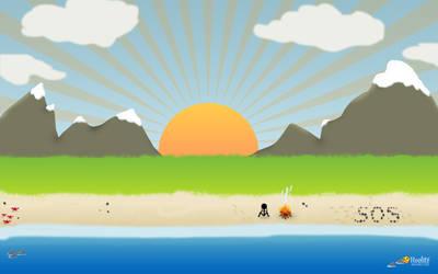 Cartoon landscape beach by D0wnload