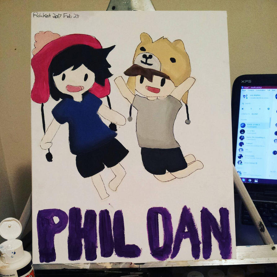 Dan and Phil Sticker Painting by anchor-phan