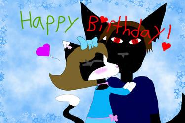 Neko Kawaii Chu x Wolfy BlackKnight Happy Birthday by HarukoxTaota