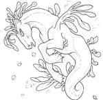 Free Seahorse Lineart