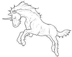 Free Dragon Horse Lineart by bonbon3272