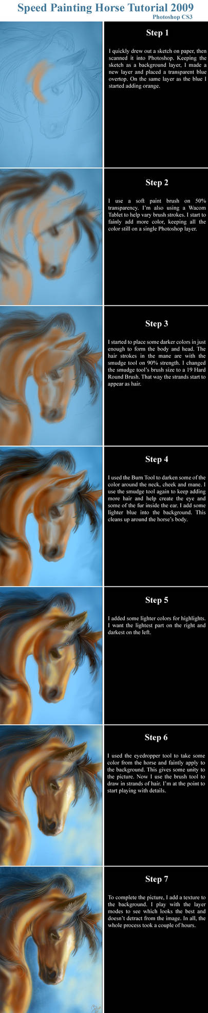 Speed Painting Horse Tutorial by bonbon3272