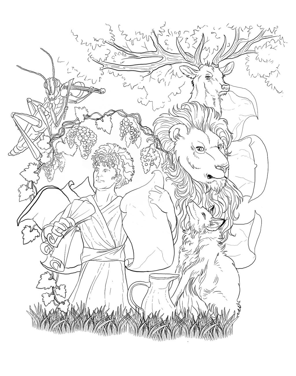 Aesop's Fables LineART by bonbon3272