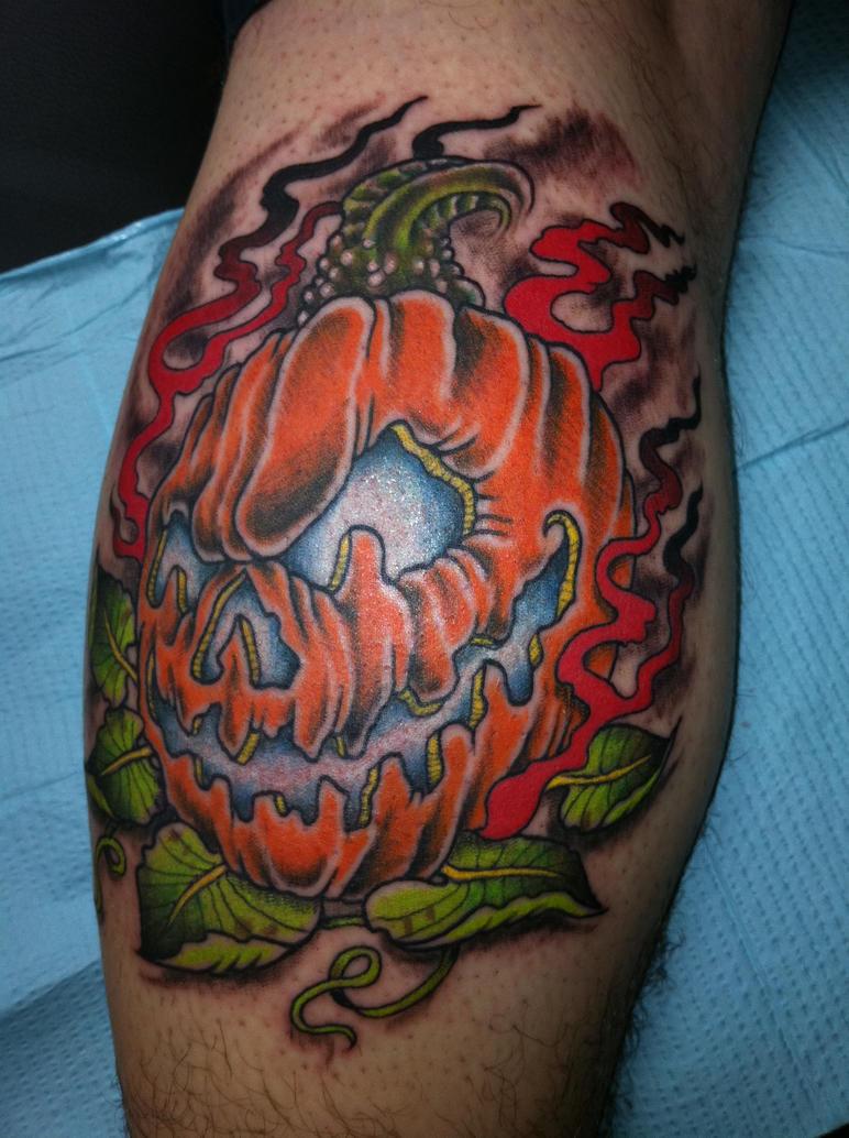 Evil pumpkin tattoo by fartknocker666 on deviantart for Tattoos of pumpkins
