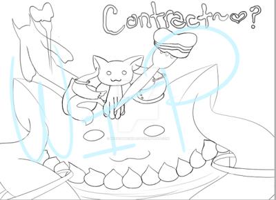 Kyubey Eating Himself Commission - Inked by MissChibiChild