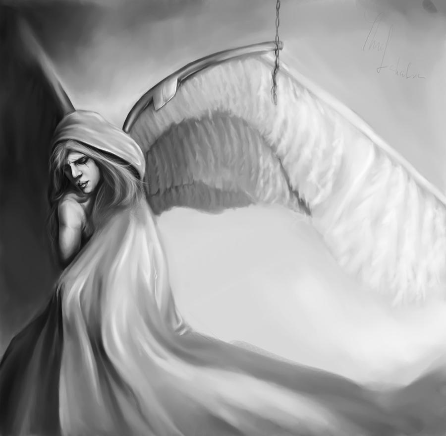 Sad Angel Paintings Sad Angel by Thubakabra