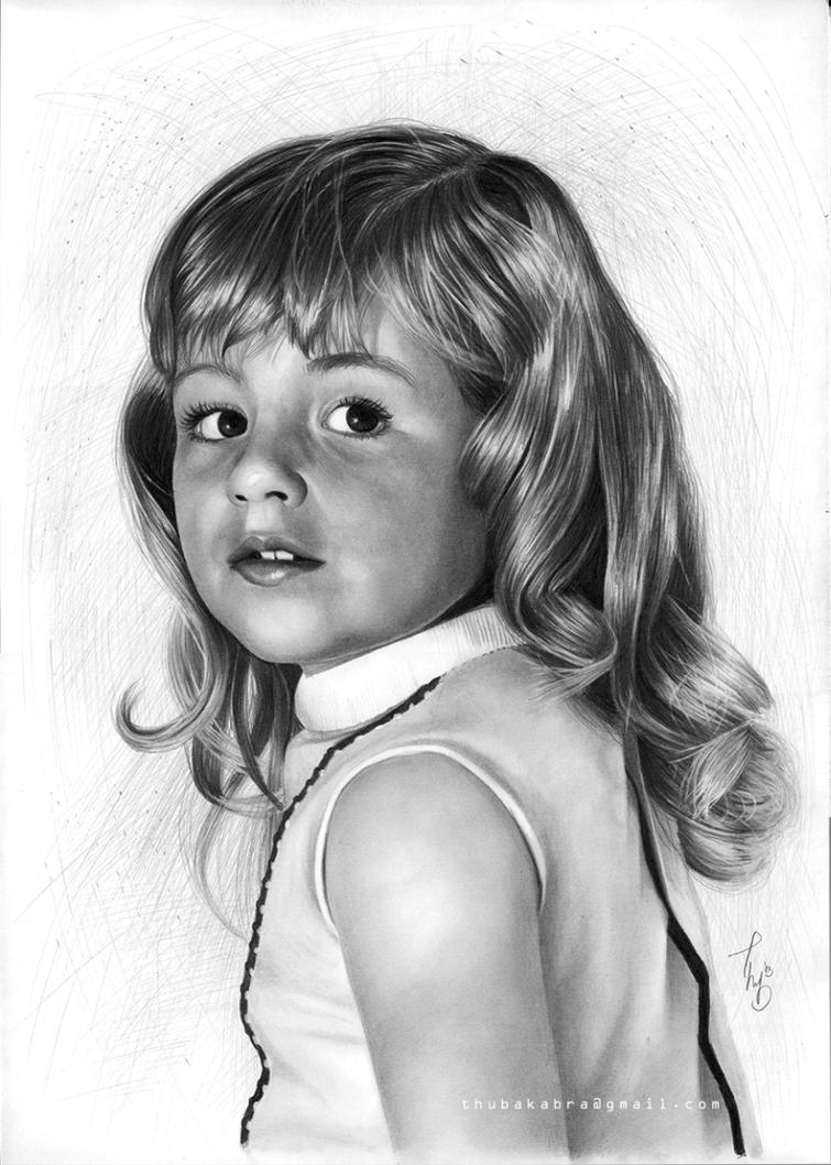 Drawing of a Little Girl With Curly Hair Little Girl Drawing From an