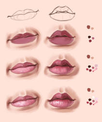 Lips practice in krita and steps