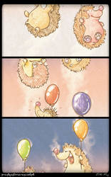 The Hedgehogs and baloons by Przylga
