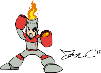 Draw Mega Man Day 2015 - Fire Man by JonCausith