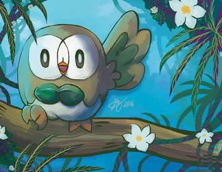 Pokemon Sun and Moon Starter: Rowlet by Hikolol35