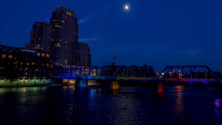 The Night Sky and Colored Bridge by lyonsc1000