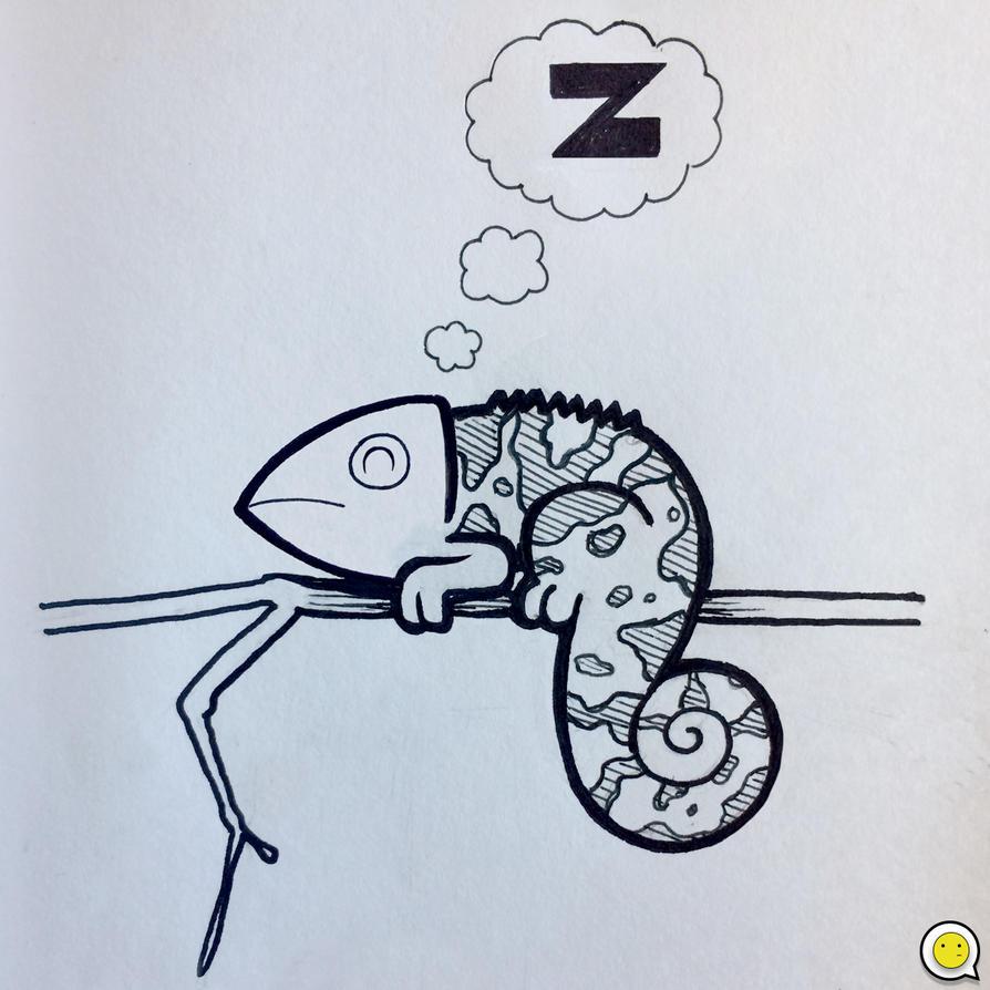 Sleepy Chameleon by indifferencedesign