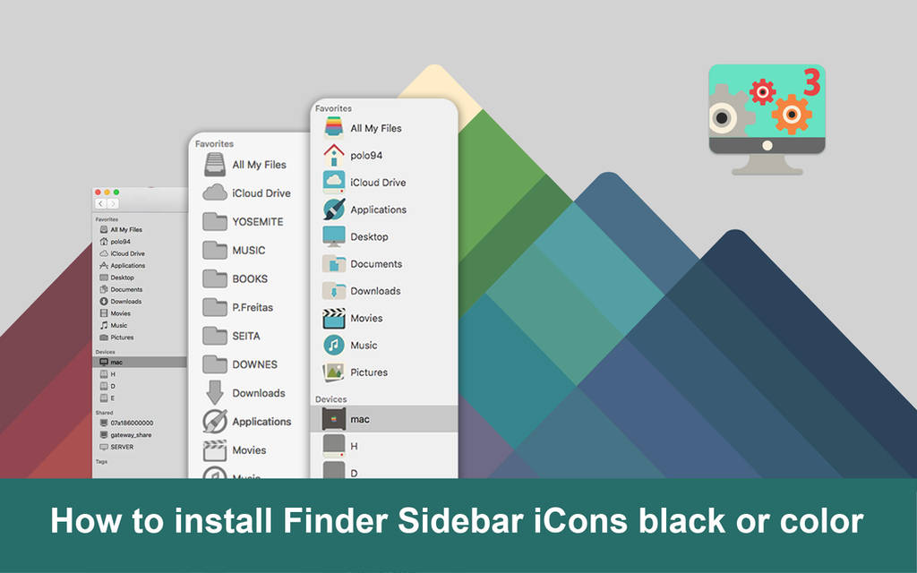 How to install Finder Sidebar iCons in color by valvator