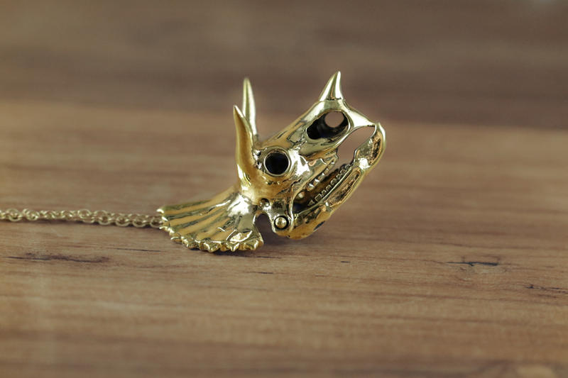 Mafia Gold Triceratops Necklace by Shape-hunter