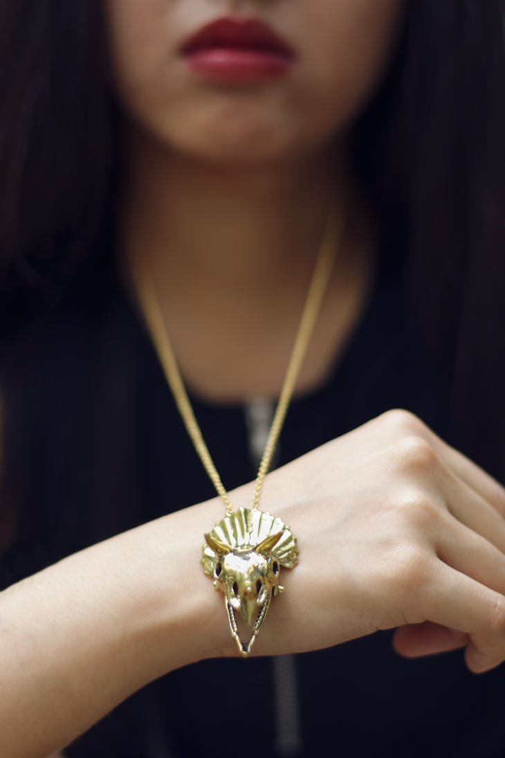 Mafia Gold Triceratops Necklace 2 by Shape-hunter
