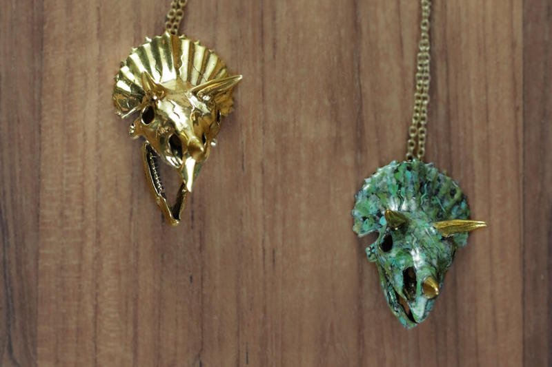 Mafia Gold and Green Triceratops Necklace by Shape-hunter