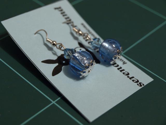 Glittery blue earrings by serenainwonderland