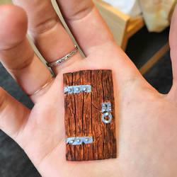 Handmade miniature medieval door