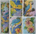 Seidentuch - Papageien