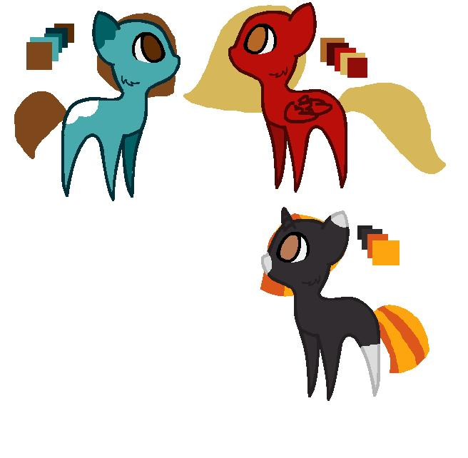 Adoptable Ponies Batch 1 by cowmaiden