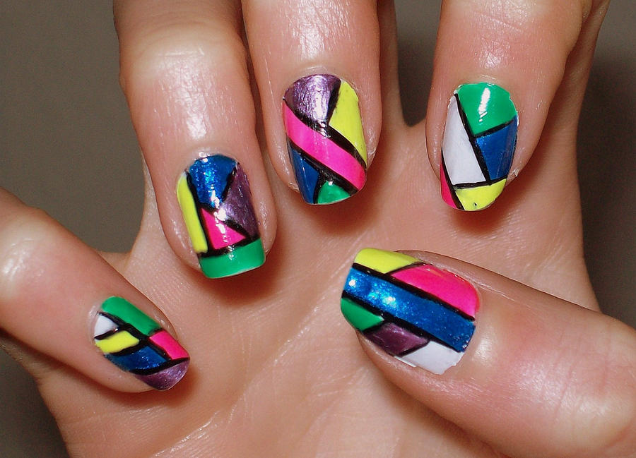 Color Blocking Nails by mimeNAILart