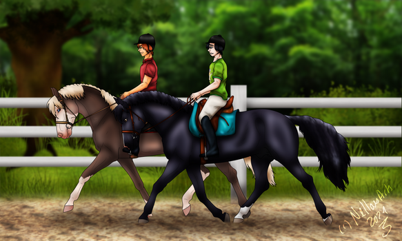 .-. Chit-chat during a trot-walk .-.