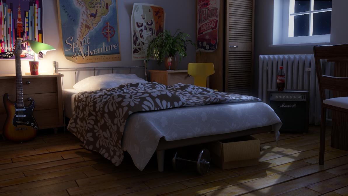 Bedroom - Moonlight Night by tarnishoar on DeviantArt